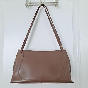 Vtg Furla Shoulder Bag Leather Cafe Au Lait